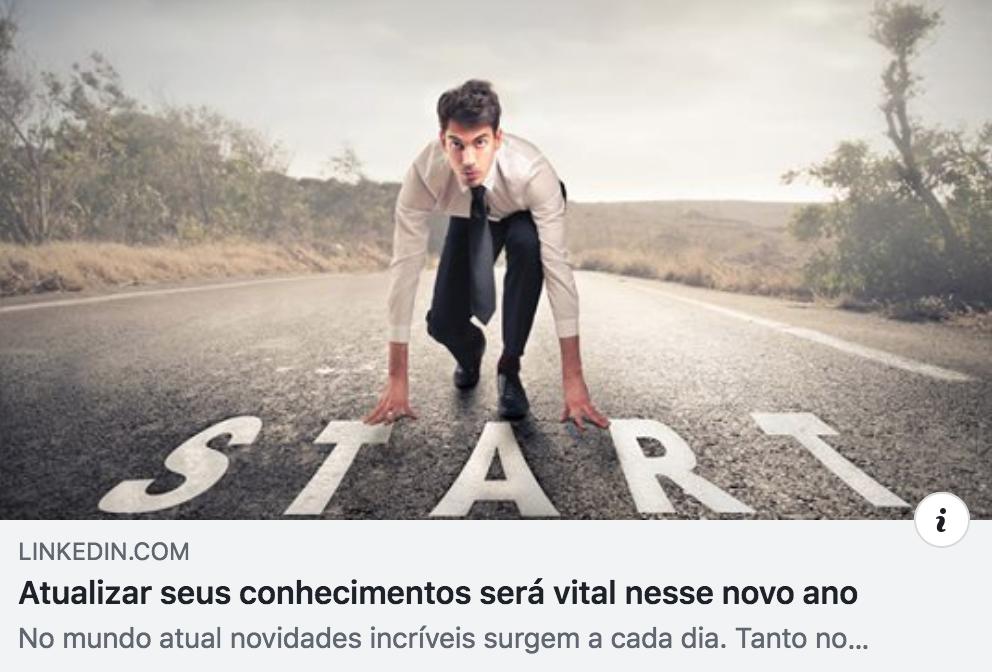 Atualizar seus conhecimentos será vital nesse novo ano - LinkedIn Bruno Peres